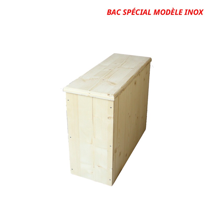 Bac à copeaux, sciure de bois avec couvercle pour toilette sèche - modèle brut spécialement adapté pour la gamme inox