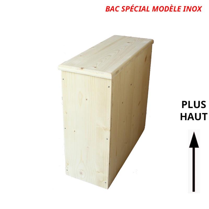 Bac à copeaux de bois avec couvercle pour toilette sèche - modèle brut spécialement adapté pour la gamme inox rehaussée