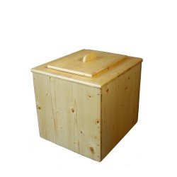 Toilette sèche pas chère en bois huilé avec seau plastique alimentaire 20 litres - Livraison Gratuite !