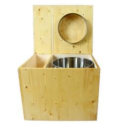 Toilette sèche en bois huilé, modèle complet avec seau et bavette inox. Hauteur PMR 50 cm.