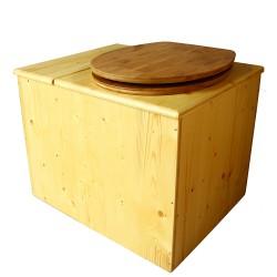 Toilette sèche en bois huilé avec bac intégré, abattant bambou seau inox et bavette inox. Hauteur PMR 50 cm.