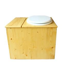 Toilette sèche en bois huilé avec bac intégré, abattant blanc seau inox et bavette inox. Hauteur PMR 50 cm.