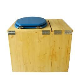 Toilette sèche en bois huilé avec bac intégré, abattant bleu nuit, seau inox et bavette inox. Hauteur PMR 50 cm.