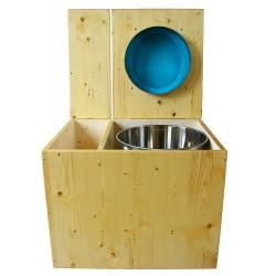 Toilette sèche en bois huilé avec bac intégré, abattant bleu turquoise, seau inox et bavette inox. Hauteur PMR 50 cm.