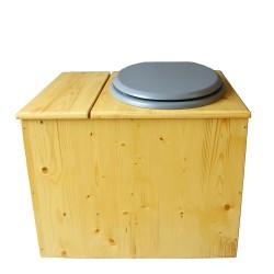 Toilette sèche en bois huilé avec bac intégré, abattant gris, seau inox et bavette inox. Hauteur PMR 50 cm.