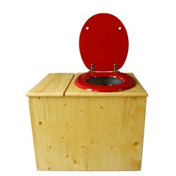 Toilette sèche en bois huilé avec bac intégré, abattant rouge framboise, seau inox et bavette inox. Hauteur PMR 50 cm.