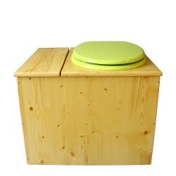 Toilette sèche en bois huilé avec bac intégré, abattant vert pomme, seau inox et bavette inox. Hauteur PMR 50 cm.