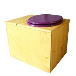 Toilette sèche en bois huilé avec bac intégré, abattant violet prune, seau inox et bavette inox. Hauteur PMR 50 cm.