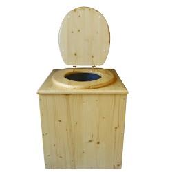 toilette sèche en bois huilée complète avec seau inox 14 litres et bavette inox. modèle rehaussé, hauteur d'assise 50 cm PMR