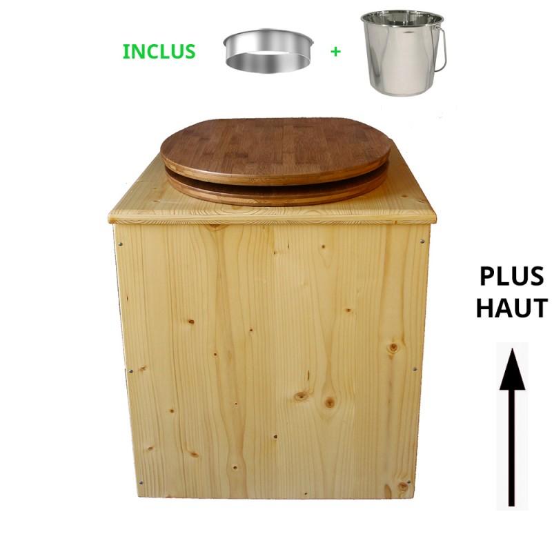 toilette sèche rehaussée en bois huilé complète avec seau inox 14 litres et bavette inox Ø30 cm - abattant bambou