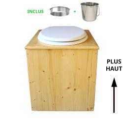 toilette sèche rehaussée en bois huilé complète avec seau inox 14 litres et bavette inox Ø30 cm - abattant blanc