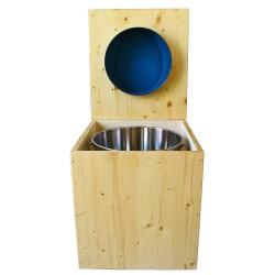 toilette sèche rehaussée en bois huilé complète avec seau inox 14 litres et bavette inox Ø30 cm - abattant bleu nuit