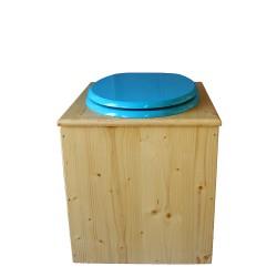 toilette sèche rehaussée en bois huilé complète avec seau inox 14 litres et bavette inox Ø30 cm - abattant bleu turquoise - PMR