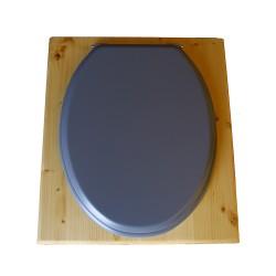 toilette sèche rehaussée en bois huilé complète avec seau inox 14 litres et bavette inox Ø30 cm - abattant gris clair - PMR