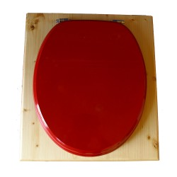 toilette sèche rehaussée en bois huilé complète avec seau inox 14 litres et bavette inox Ø30 cm - abattant rouge framboise - PMR