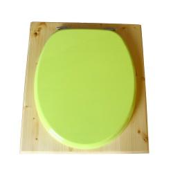 toilette sèche rehaussée en bois huilé complète avec seau inox 14 litres et bavette inox Ø30 cm - abattant vert pomme - PMR