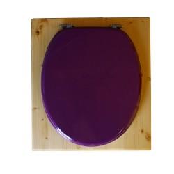 toilette sèche rehaussée en bois huilé complète avec seau inox 14 litres et bavette inox Ø30 cm - abattant violet prune - PMR
