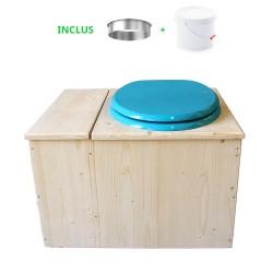 Toilette sèche avec bac à copeaux de bois - La Bac Bleu turquoise complète