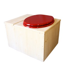 Toilette sèche avec bac à copeaux de bois - La Bac Rouge framboise complète