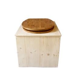Toilette sèche en bois avec seau 22 Litres + bavette inox - La Bambou complète