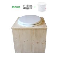 Toilette sèche en bois avec seau 22 Litres + bavette inox - La Blanche complète
