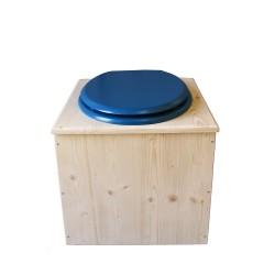 Toilette sèche en bois avec seau 22 Litres + bavette inox - La Bleu nuit complète