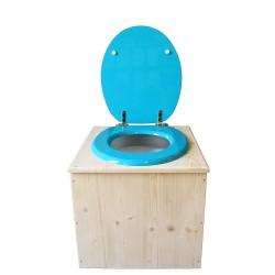 Toilette sèche en bois avec seau 22 Litres + bavette inox - La Bleu turquoise complète