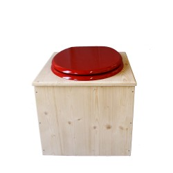 Toilette sèche en bois avec seau 22 Litres + bavette inox - La Rouge framboise complète