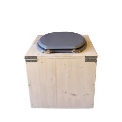 Toilette sèche en bois avec seau 22 Litres + bavette inox - La gris clair complète