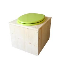 Toilette sèche en bois avec seau 22 Litres + bavette inox - La vert pomme complète