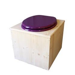 Toilette sèche en bois avec seau 22 Litres + bavette inox - La violet prune complète