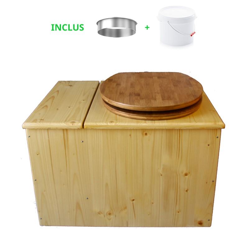 Toilette sèche huilée avec bac à copeaux de bois, bavette inox, seau plastique 22 litres - la bac bambou complète huilée