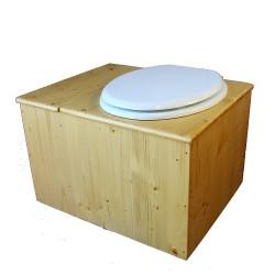 Toilette sèche huilée avec bac à copeaux de bois, bavette inox, seau 22 litres - la bac blanche complète huilée