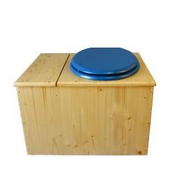 Toilette sèche huilée avec bac à copeaux de bois, bavette inox, seau 22 L - la bac bleu nuit complète huilée