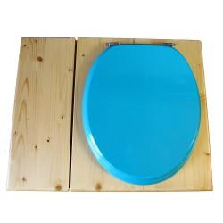 Toilette sèche huilée avec bac à copeaux de bois, bavette inox, seau 22 L - la bac bleu turquoise complète huilée