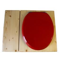Toilette sèche huilée avec bac à copeaux de bois, bavette inox, seau 22 L - la bac rouge framboise complète huilée