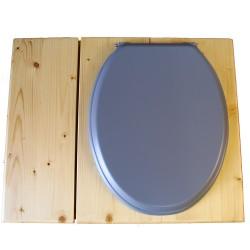 Toilette sèche huilée avec bac à copeaux de bois, bavette inox, seau 22 L - la bac gris clair complète huilée