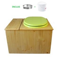 Toilette sèche huilée avec bac à copeaux de bois, bavette inox, seau 22 L - la bac vert pomme complète huilée