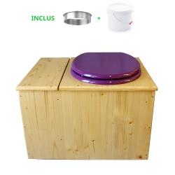 Toilette sèche huilée avec bac à copeaux de bois, bavette inox, seau 22 L - la bac violet prune complète huilée