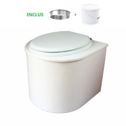 toilette sèche en bois arrondie complète avec seau et bavette inox