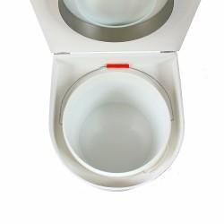 toilette sèche arrondie blanche avec seau plastique 22 litres et bavette inox