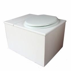 Toilette sèche avec bac à copeaux de bois blanche. Livré complet avec bavette inox et seau 22 litres