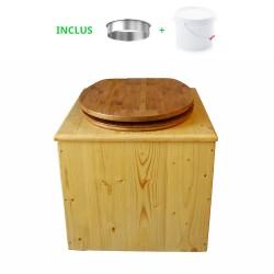 Toilette sèche en bois huilé avec bavette inox, seau plastique 22 litres - la bambou complète huilée