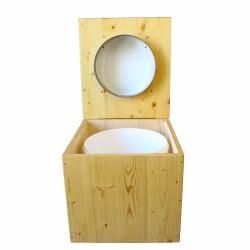 Toilette sèche en bois huilé avec bavette inox, seau plastique 22 litres - la blanche complète huilée