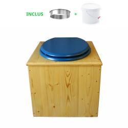 Toilette sèche en bois huilé avec bavette inox, seau plastique 22 litres - la bleu nuit complète huilée