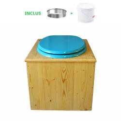Toilette sèche en bois huilé avec bavette inox, seau plastique 22 litres - la bleu turquoise complète huilée