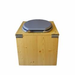 Toilette sèche en bois huilé avec bavette inox, seau plastique 22 litres - la gris complète huilée
