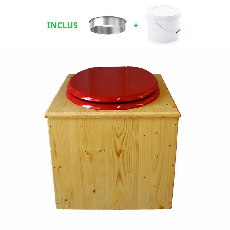 Toilette sèche en bois huilé avec bavette inox, seau plastique 22 litres - la rouge framboise complète huilée