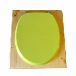 Toilette sèche en bois huilé avec bavette inox, seau plastique 22 litres - la vert pomme complète huilée