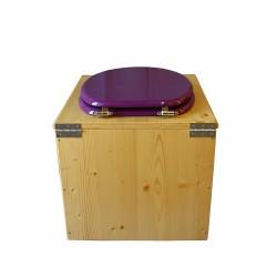 Toilette sèche en bois huilé avec bavette inox, seau plastique 22 litres - la violet prune complète huilée